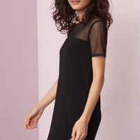 Mesh Shoulder T-Shirt Dress