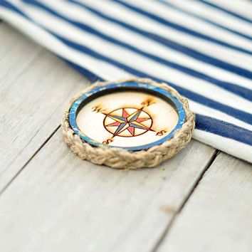Wood Laser cut Brooch Mariner's Compass