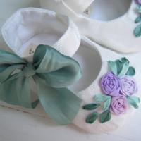 White Taffeta Lavender Flowers 'Summer' Mary Jane by BobkaBaby