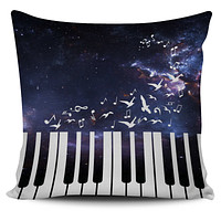 Space Piano Pillow Cover