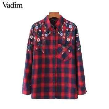 Women Floral Embroidery Red Plaid Shirts Pocket Long Sleeve Side Split Blouses Ladies Vintage Wear Tops