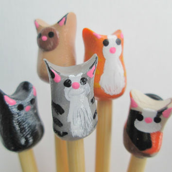Cat Knitting Needles made to order on premium by DotDotSmile