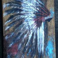 Reclaimed wood wall decor / art / sign - headdress - native american - hand painted