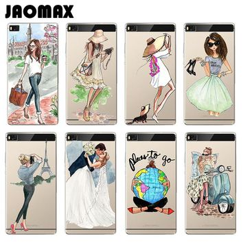Summer Beach Couple Travel Girl Case For Huawei P10 P9 P8 Lite Mate 8 9 Pro Honor 8 V8 5C Transparent Silicone Phone Cover Coque
