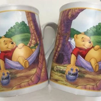 Disney Houston Harvest Set of 2 Mugs Winnie The Pooh Pooh's Thotful Spot Tea Cup