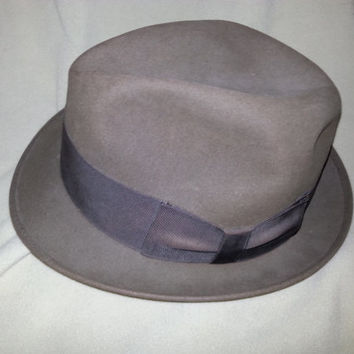 Vintage 1950s Dobbs Fifth Avenue Olive Green Fedora Hat