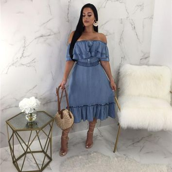 MILA Off The Shoulder Denim Midi