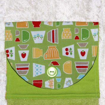 Handmade Hanging Hand Towel • Kitchen Towel • Tea Towel • Vintage Pyrex Bowls • Retro Fire King Tulips • Lime Green Cherry Strawberry Dots