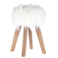 White Faux Fur Wood Stool | Hobby Lobby