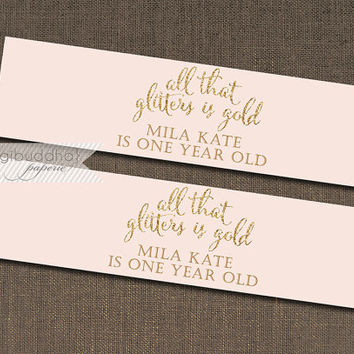 "Blush Pink & Gold Water Bottle Labels Drink Label Gold Glitter Shabby Chic Baby Girl Birthday 1st First DIY Drink Bottle Labels 8x2"" - Mila"