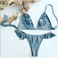 Triangle Ruffle Brazilian Bikini Set