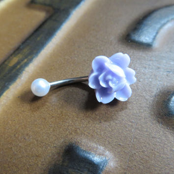 Lavender Orchid Lotus Pearl Belly Button Ring Jewelry- Light Pastel Purple Flower Charm Navel Piercing Barbell Bar Stud