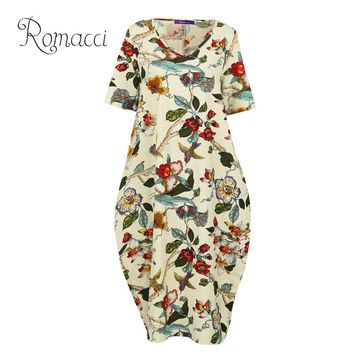 Romacci 2018 Long Maxi Beach Summer Dress Women Vintage Birds Floral Print Dress Cotton Pocket Boho Casual Loose Plus Size Dress