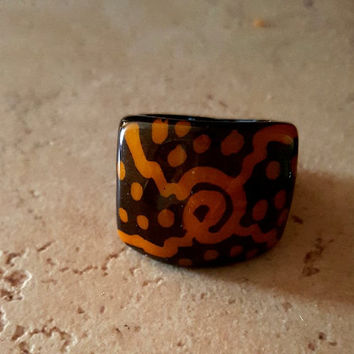 Tagua Ring, Natural Brand, Statement ring, tagua nut ring, Nature Statement Ring, handmade ring, big size ring, nature inspired natural ring