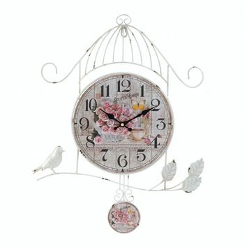 Iron Birdcage Country Rose Wall Clock