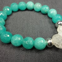 Turquoise Jade Gemstone/Cracked Quartz Crystal/Sterling Silver/Stacking Bracelet/Fancy Boho