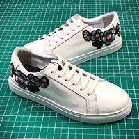 2018 OZLANA Spring Embroidery Flower White Sneaker #2 - Best Online Sale