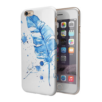 Blue Splatter Feather 2-Piece Hybrid INK-Fuzed Case for the iPhone 6/6s or 6/6s Plus