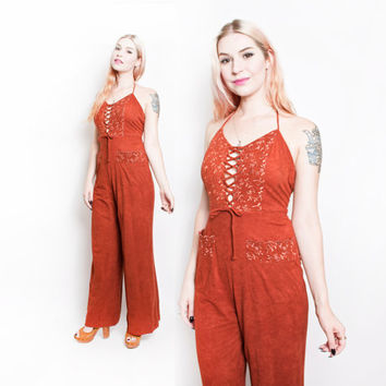 Vintage 70s Jumpsuit - YOUNG EDWARDIAN Corset Tie Bell Bottom Boho Onesuit - Large