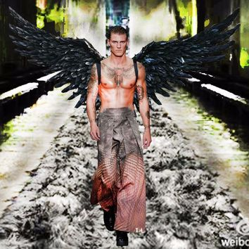 Black Large Wings Feather Model Catwalk Shows Party Performance Cosplay Photography