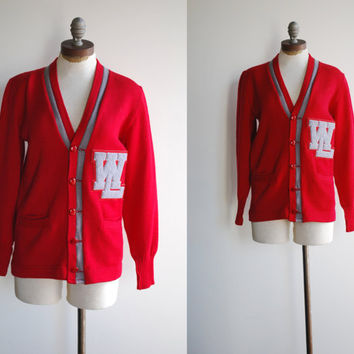 "1950's Red & Grey Letterman Wool Cardigan Sweater marked ""WL"""