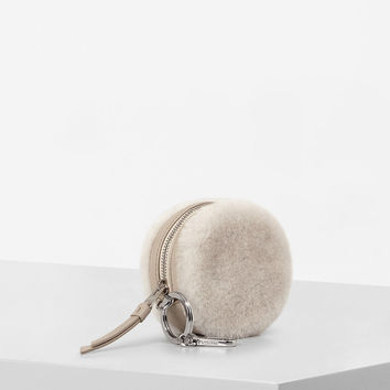 ALLSAINTS US: Womens Bansho Shearling Keyfob Pouch (NATURAL WHITE)