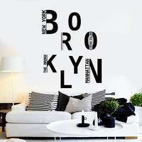 Vinyl Wall Decal Brooklyn New York USA Art Stickers Mural Unique Gift (ig4344)