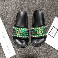 Gucci Woman Green Spike Fashion Casual Sandals Slipper Shoes