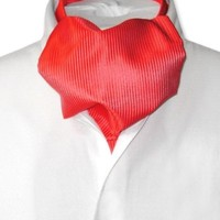 Antonio Ricci ASCOT Solid RED Ribbed Pattern Color Cravat Men's Neck Tie