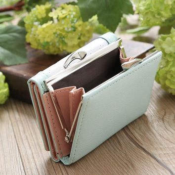 Women'S Purse Coin Purse Card Holder Wallet Female Patchwork Tread Wallet Women Leather Hasp Multifunctional #820