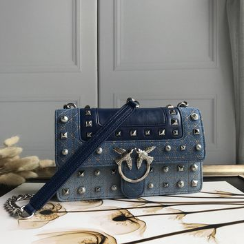 Kuyou Gb69729 Pinko Women¡¯s Love Bag Idillio In Leather With Studs And Pearls Denim Clutch Bag 27-18-8cm