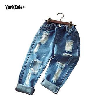 Yorkzaler Children Broken Hole Pants 2018 Fashion Infant Denim Jeans Boy Girl Ripped Kids Long Trousers Baby Spring Clothes