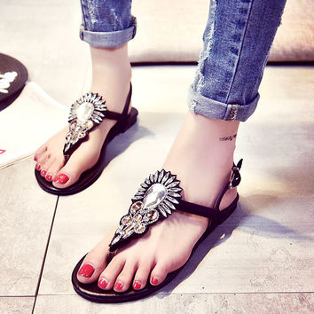 Summer sandals Lady's leather Shining jewels flip-flops not grind feet