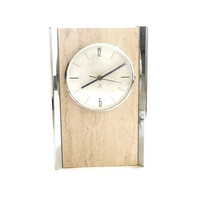 1960s Chrome and Travertine Clock by Raymor