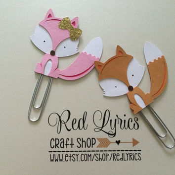 LIMITED Fox paper clips, planner accessories