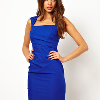 Lipsy | Lipsy Pleated Pencil Dress with Square Neck at ASOS