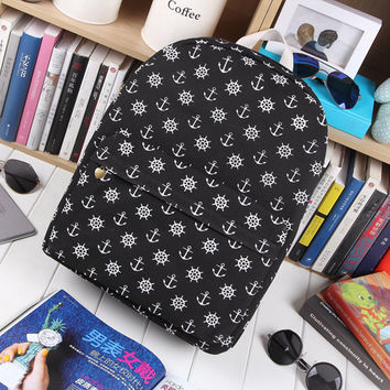 Sea Korean Strong Character Canvas Casual Army Style Navy Backpack = 4887499972
