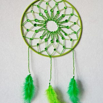 Mandala dreamcatcher no. 8 with green beads and feathers