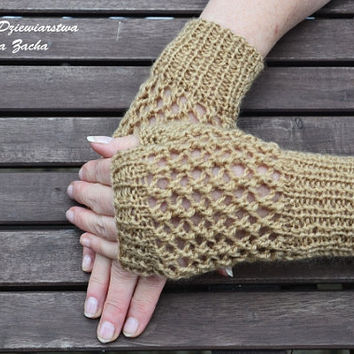 Light brown Fingerless Mittens , fingerless gloves in handmade , warmers gloves