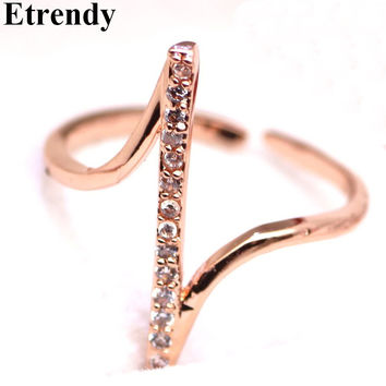 Simple Z Letter Micro Pave Zircon Rings For Women Bijoux Fashion Jewelry Rose Gold Plated Resizable Ring Cute Gift