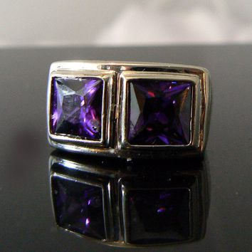 Art Deco Purple Glass Ring