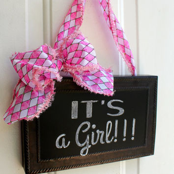 Pink and White CHALKBOARD Sign Door Hanging Harlequin Ribbon Bow Personalize Gift It's a Girl Baby Welcome Gender Reveal Nursery Shower