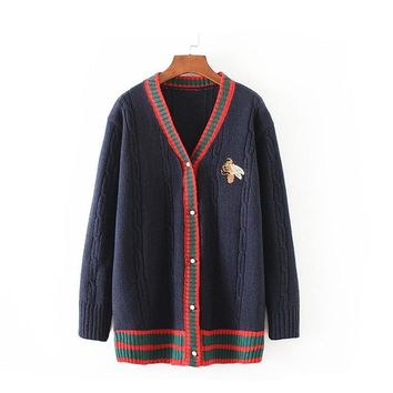 Europe and United States 2018 Winter Women new college wind stripe hit color long paragraph embroidery cardigan Women Sweaters