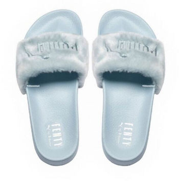 """PUMA"" Rihanna Fenty Leadcat Fur Slipper Shoes Sky blue"