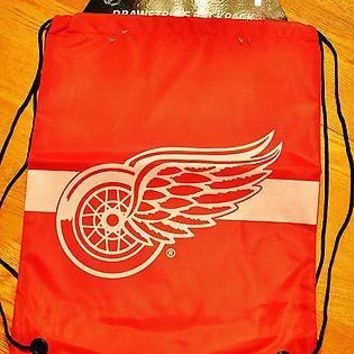 RED WINGS Drawstring Back Pack Back Sack BackPack NEW NHL DETRIOT RED WINGS