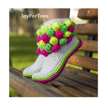 Crochet Bubble Boots for the home Neon Colors Bubbles Crochet Slippers Made to Order