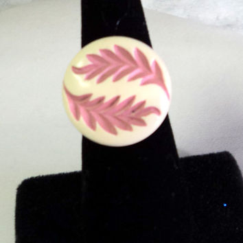Ring Adjustable Silver Gorgeous Celluloid Button Pink and Cream Leaves