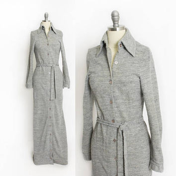 Vintage ANNE KLEIN for Lily of France - 1970s Gray Knit Full Length Duster Robe - Extra Small / XS