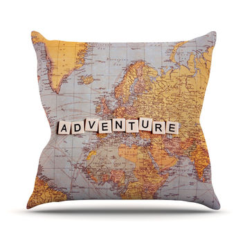 "Sylvia Cook ""Adventure Map"" World Outdoor Throw Pillow"