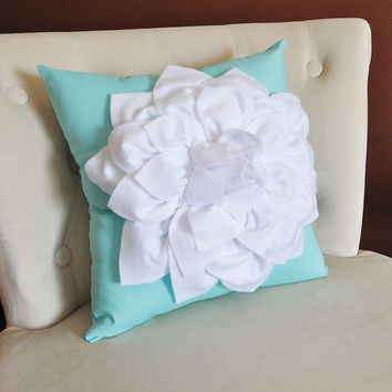 MOTHERS DAY SALE White Dahlia Flower on Bright Aqua Pillow -Decorative Aqua Blue Pillow-